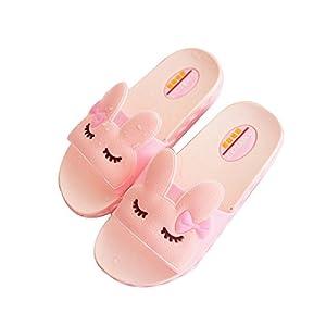 IUU Mom-Baby Slippers Cute Girl Rabbit Sandals Bath Slippers Non-Slip Slippers House Slippers Beach Flip-Flops (EU 26/18cm Toddler, Pink)