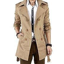 Simple-Fashion Primavera e Autunno Uomini Trench Coat Moda Sottile Giacca  Outerwear Parka Blouse Tops effc95140f72