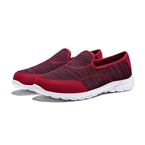 HQUEC Damen Leicht Sneaker Laufschuhe Turnschuhe Slip-On-Schuhe Rot