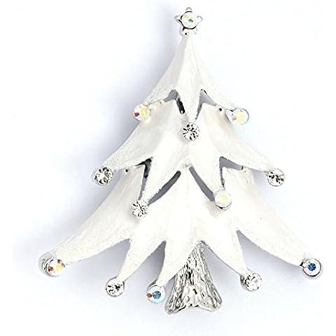Gioielli, grande, colore: bianco, con cristalli Swarovski, effetto Spilla a forma di albero di Natale