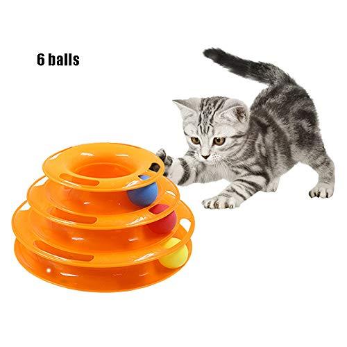 WTTTTW 3 Level Tower of Track Katzenkratzspielzeug, mit 6 Bällen, Multi Stage Interactive Kitten Ball Tower Trackball Spielzeug-Set