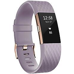 Fitbit Charge 2 Edición Especial - Pulsera de Actividad física y Ritmo cardiaco Unisex, Color Lavanda/Oro Rosa, Talla L