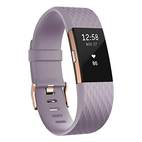 Fitbit Charge 2 Activity Tracker with Wrist Based Heart Rate Monitor – Lavender/Large