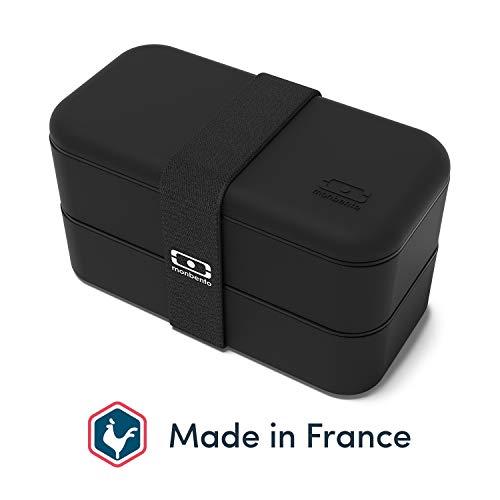monbento - MB Original Noir bento box Made in France - Lunch box hermétique 2 étages - Boîte repas idéale pour le travail/école - sans BPA - durable et sûre