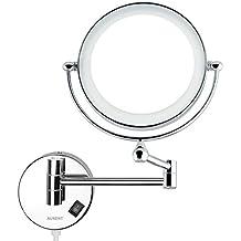 Auxent Espejo de maquillaje de baño iluminado con luz LED Montaje en pared 5x de aumento, doble cara giratoria de 360 °, Espejo de montar en pared, acero inoxidable y acabado cromado para baño, hotel, spa y salón de belleza
