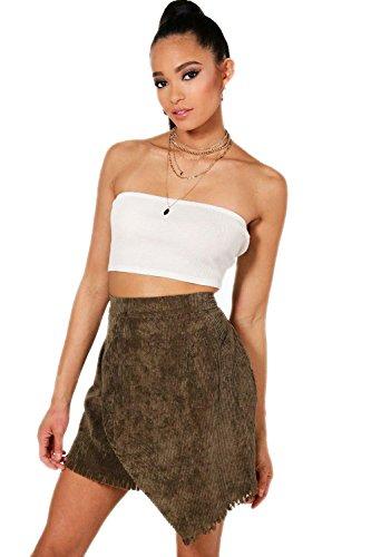 Femmes Ardoise Mini jupe cache-cœur en velours côtelé à ourlet effiloché Olivia - 6