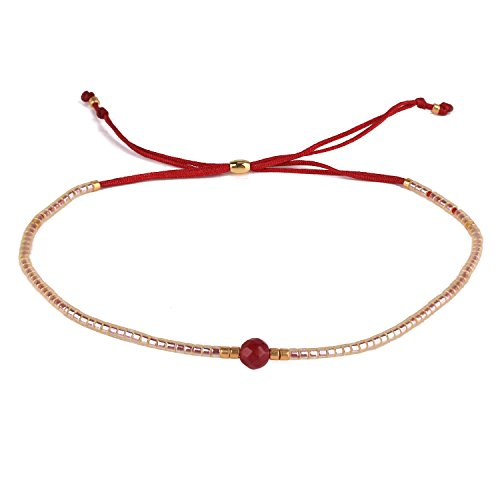 KELITCH Armband Damen Frauen Weiß Rocailles Perlen Rot Zart Schnur Freundschaftsarmbänder mit Rot Jade Strangarmband Armbänder Männer