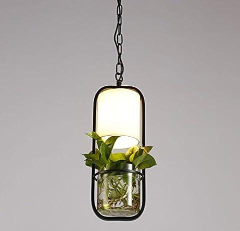 GFFORT La nouvelle lampe le restaurant moderne et minimaliste chinois chambre personnalité créative salon bar en fer forgé décoratif plantes hydroponiques lustre, porte-lampe