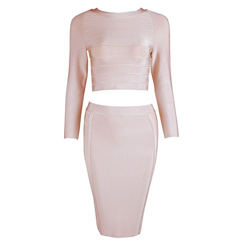 HLBandage Women's Sexy 2 Piece Long Sleeve Rayon Bodycon Bandage Dress Beige