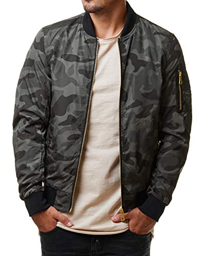 EightyFive Herren Bomberjacke Übergangsjacke Schwarz Khaki Rot Camouflage EFS150, Größe:S, Farbe:Camouflage Grey