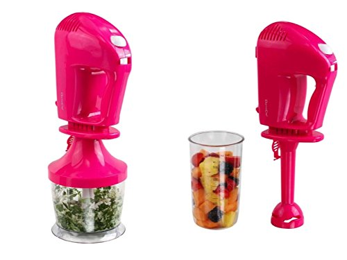 3in1 Mixer Handmixer Rührgerät Pürierstab 6 Stufen Handrührer Zerkleinerer Knethaken Quirl Rührbesen Handrührgerät (Messbecher, 200 Watt, Impulsfunktion, Schneebesen, Rührer, Viel Zubehör, Pink) - Allzweck-mixer