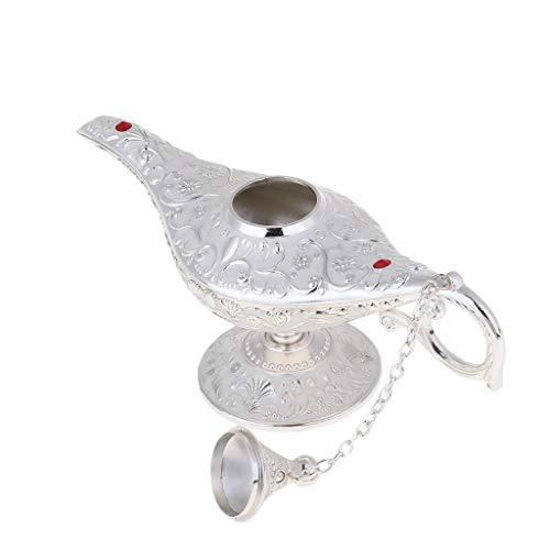 sharprepublic Klassische Vintage Aladdin Magic Genie Kostüm Lampe Home Tischdekoration - Silber, 21 x 7 x 11 cm (Genie Kostüm Arabisches)