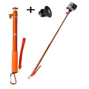 Perche télescopique Xsories 30-95 cm - Orange - 100 % aluminium inoxydable + Adaptateur caméra GoPro