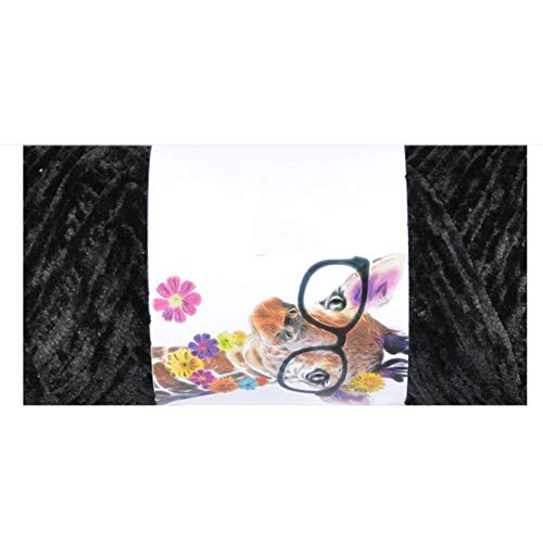 Biback Chenille-Garn, Mehrfarbig, SAMT, Häkelgarn, für Handstricken, Babydecken, Kissen, Pullover, 68 m, schwarz -