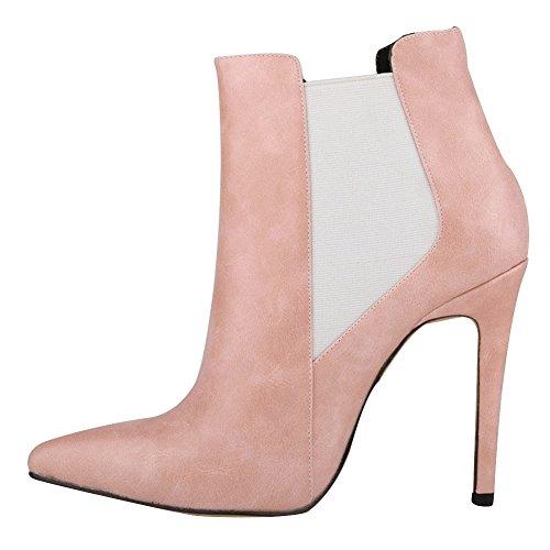 HooH Femmes Pointu Élastique Glissement Stiletto Escarpins Bottines Rose