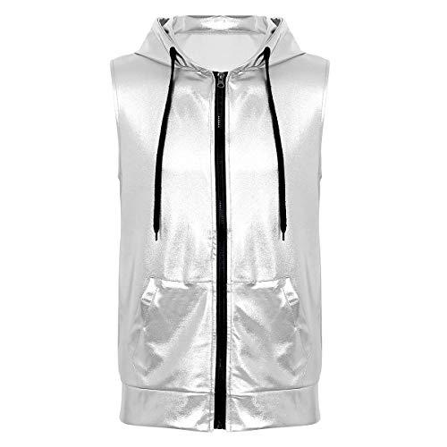 Tiaobug Herren Kapuzen-Shirt Hip Hop Hoodie Metallic ärmellos Top T-Shirt Weste mit Kapuze Reißverschluss und Kängurutaschen Clubwear in Lederoptik Silber ()