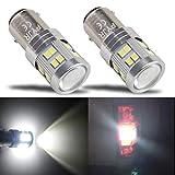 BAY15D 1157 p21w led ampoule feu de stop, PYJR 6W DC10-30V Lumière blanc, pour Moto, RV, Auto Voiture, feux de jours, etc (Lot de 2)