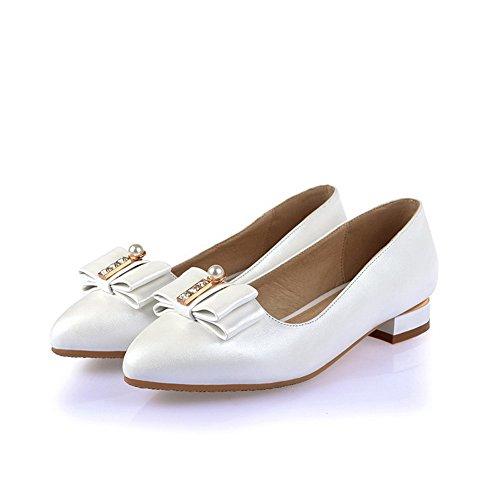 AgooLar Femme Couleur Unie Microfibre à Talon Bas Pointu Tire Chaussures Légeres Blanc