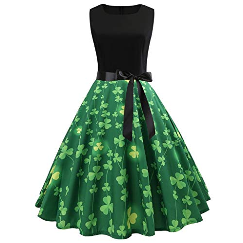Sannysis St. Patricks Day Kostüm Damen | Grüner Kleeblatt Druck Kleid Frauen Vintage Grün Klee Print Swing Party Kleider Ärmellos Patchwork Rockabilly Irischer Abend Cocktailkleid