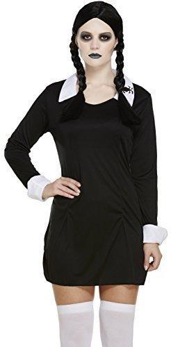 Damen Sexy Erwachsene Addams Mittwoch unheimlich Tochter 1960s Jahre Halloween Kostüm Kleid Outfit UK - Mittwoch Addams Für Erwachsene Kostüm