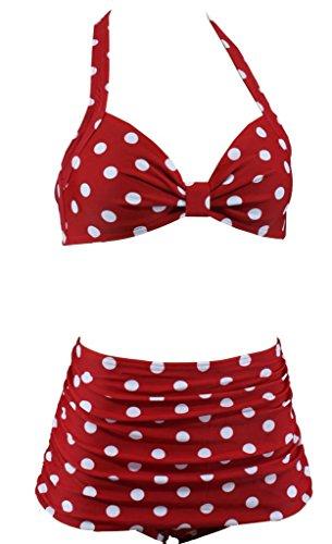 Aloha-Beachwear Damen Bikini A1064 Rot/Weiss Gr. 44