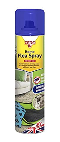 Zero In Home Flea Spray (300 ml Aerosol, Household Treatment to Kill Cat and Dog Fleas and Larvae for Use on Pet Bedding, Baskets, Cushions and