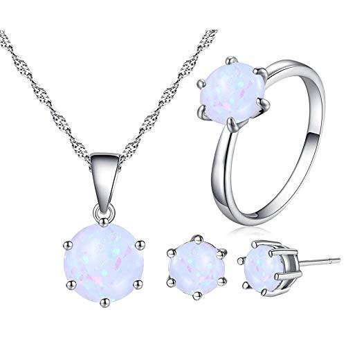 Uloveido Charm Anhänger Halskette Clip auf Ohrringe und Halo Ring Schmuck-Set mit Created White Fire Opal Stein Y436 (Auf Clip Ohrringe Opal)