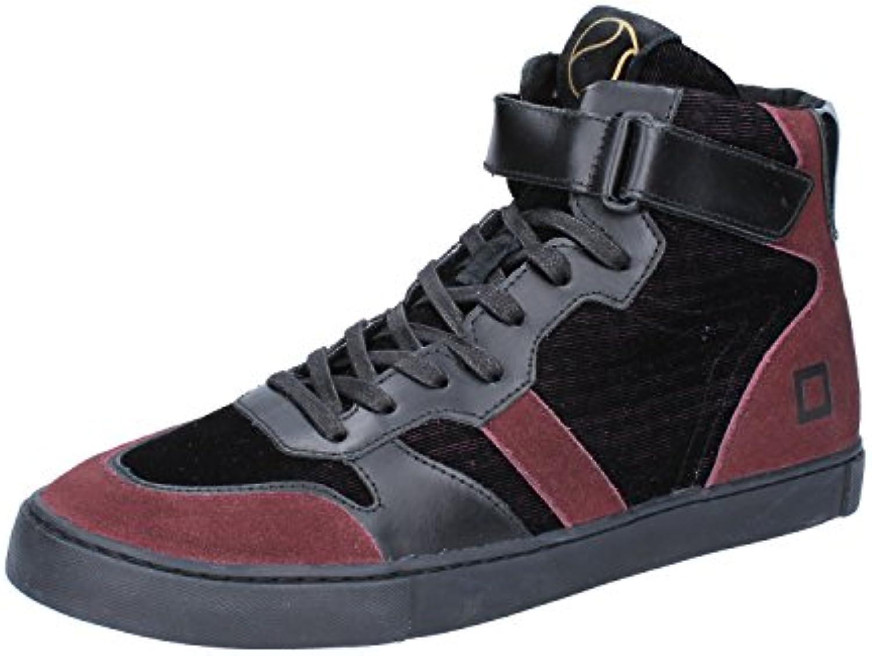 D.a.t.e. Date Sneakers Herren 42 EU Schwarz Burgund Textil Leder Wildleder