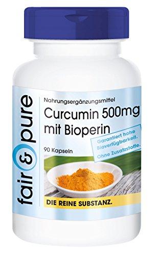 Curcumine 500mg avec Biopérine - substance pure - 90 gélules - sans additifs