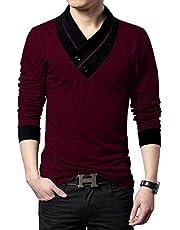 Fashion Gallery Tshirts for Men V-Neck Tshirts for Mens Full Sleeves Men's Regular Fit Cotton Tshirt