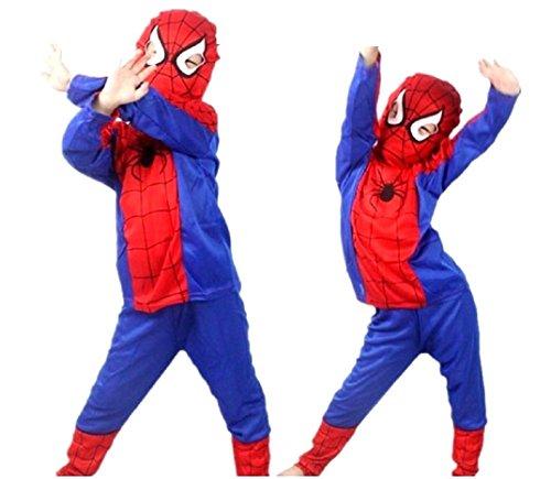 Größe S - 3-4 Jahre - Kostüm - Verkleidung - Karneval - Halloween - Superheld - Spider Man - Rot - ()