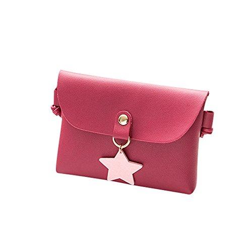 Damen Mini Kleine Leder Umhängetasche Hirsch Crossbody Frauen Retro Handtasche (Star Rot) (Bag Rote Mini-messenger)