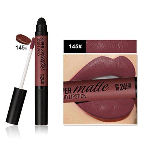 Gaddrt Femme professionnelle double-fin mat durable à lèvres imperméable à lèvres éponge tête (H)