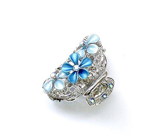 rougecaramel - Accessoires cheveux - Pince crabe cheveux fleur métal et strass - bleu