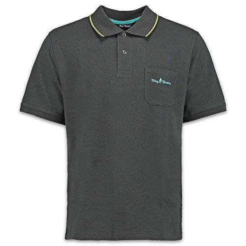 Tony Brown | Herren Basic Polo Shirt | Uni Farben | Brusttasche | (S, Grau)