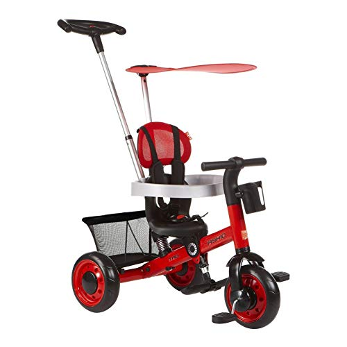 GSDZSY - Deformable Kids Tricycle Baby 3 Wheel Bike 4 In1, With Removable Push Handle Bar And Adjustable Awning,With Frame Shock Absorber,1-3 Years Old,A  GSDZSY