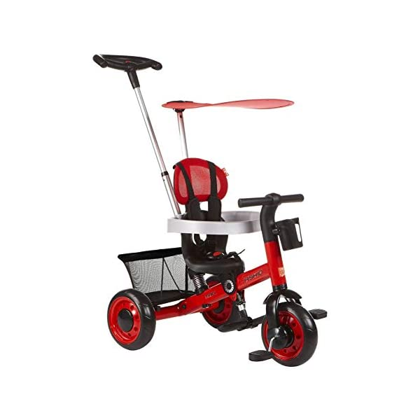 GSDZSY - Deformable Kids Tricycle Baby 3 Wheel Bike 4 In1, With Removable Push Handle Bar And Adjustable Awning,With Frame Shock Absorber,1-3 Years Old,A GSDZSY ❀ Material: high carbon steel + ABS + EVA wheel ❀ Features: The push rod can be adjusted to three heights, suitable for people of different heights; the seat can be adjusted, the adjustable umbrella can be used for different weathers, the bracket is equipped with a shock absorber, and the shock absorption effect is better. ❀ Performance: high carbon steel frame, stronger and stronger bearing capacity; EVA wheel is non-slip and wear resistant, suitable for all kinds of road conditions, good shock absorption capacity, front wheel with clutch device, safer and more reliable 1