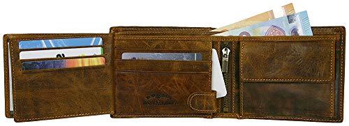Herren Geldbörse Geldbeutel Portemonnaie Leder WILD, Farbe:Braun - 4