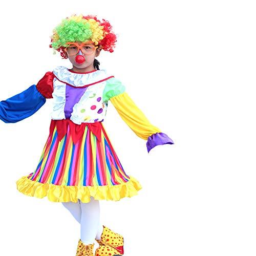 Yaxuan Burlesque Clown Halloween Kinder-Set Kostüm Männliche Mädchen Clown Dress Karnevalsfest/Urlaub Halloween-Kostüme,2,XL