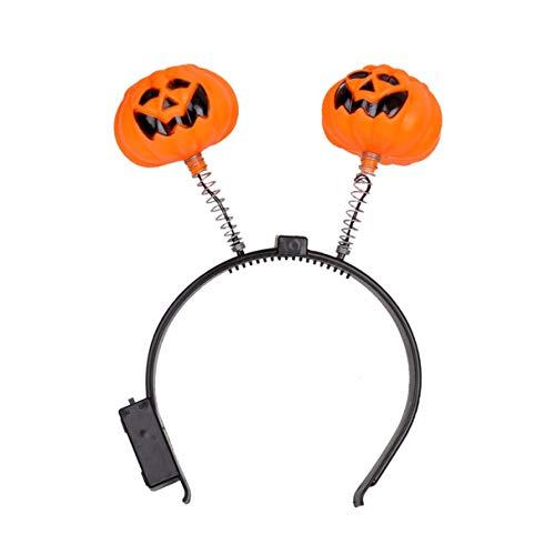 Wafalano Kürbis Stirnband, Halloween Fashion Leuchtendes Licht Kürbis -