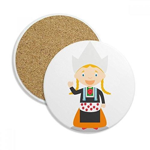 DIYthinker Couettes Fille Pays-Bas Cartoon Coaster en céramique Tasse Porte-Absorbant Pierre pour Le Cadeau de Boissons Multicolor