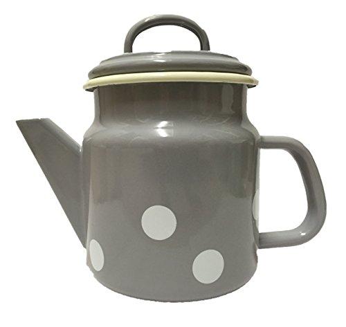 Münder-Emaille - Teekanne - Grau mit weißen Tupfen - Ø12xH17cm - 1 L