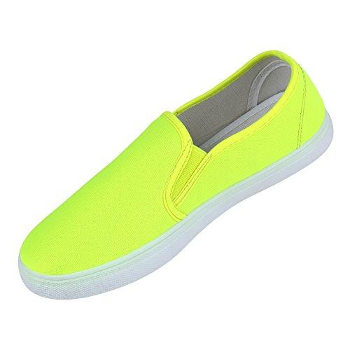 Damen Slip-ons Glitzer Sneakers Helle Sohle Slipper Metallic Neongelb Stoff