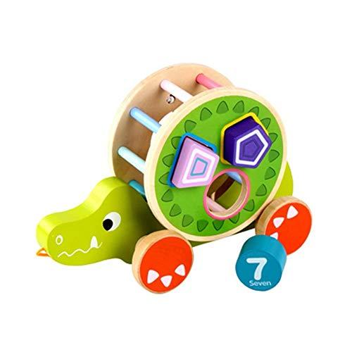 Markc Kinder Kleinkind Spielzeug Abschleppstange Holzwagen Junge Mädchen Kleinkind 1-3 Jahre alt Weihnachtsgeschenk Früherziehung Puzzle Fuchsform Gepaart Abschleppwagen (Color : Crocodile)