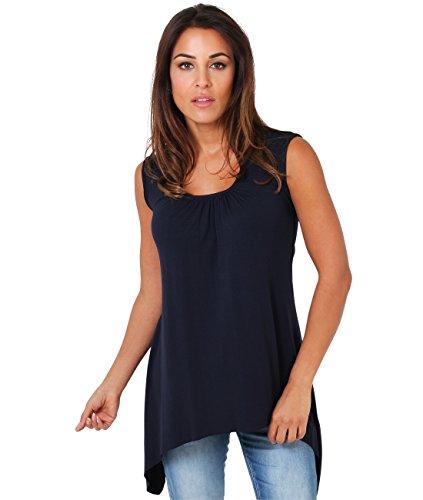 KRISP® Femmes Tunique Top Long Asymétrique Uni Classsique Bleu Marine (6255)