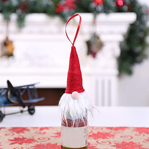(Weihnachten Weinflasche Set,Wawer Rotweinflasche Cover Taschen Weihnachts Dekoration Xmas Bottle Cap Xmas Party Hochzeit Tisch Dekorationen (Rot))