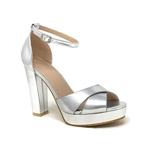 Angkorly - Damen Schuhe Pumpe Sandalen - Abend - glamourös - Plateauschuhe - gekreuzte Riemen - Gestreiftes - metallisch Blockabsatz high Heel 11 cm - Silber B-92 T 40 Silber Heels