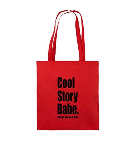 Borse Commedia - Cool Story Bambino Ora Me Ottenere Una Birra - Iuta - Manico Lungo - 38x42cm - Colore: Nero / Rosso Argento / Nero