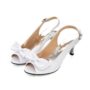 Enochx Donna Sandali Primavera Estate Autunno Slingback PU Office & Carriera Party & abito da sera Stiletto Heel Bowknot White