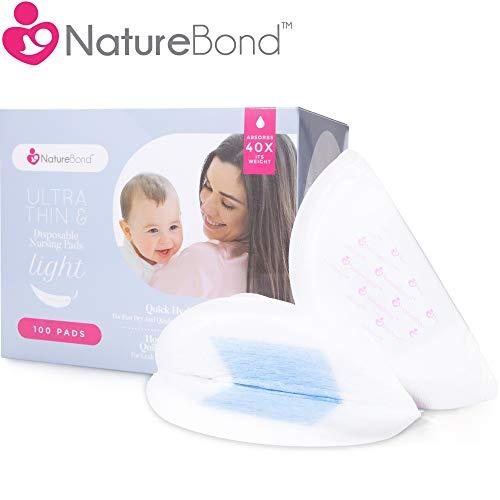 NatureBond Coppette assorbilatte monouso per allattamento 100 pezzi Ultra sottili leggeri sagomati e altamente assorbenti.